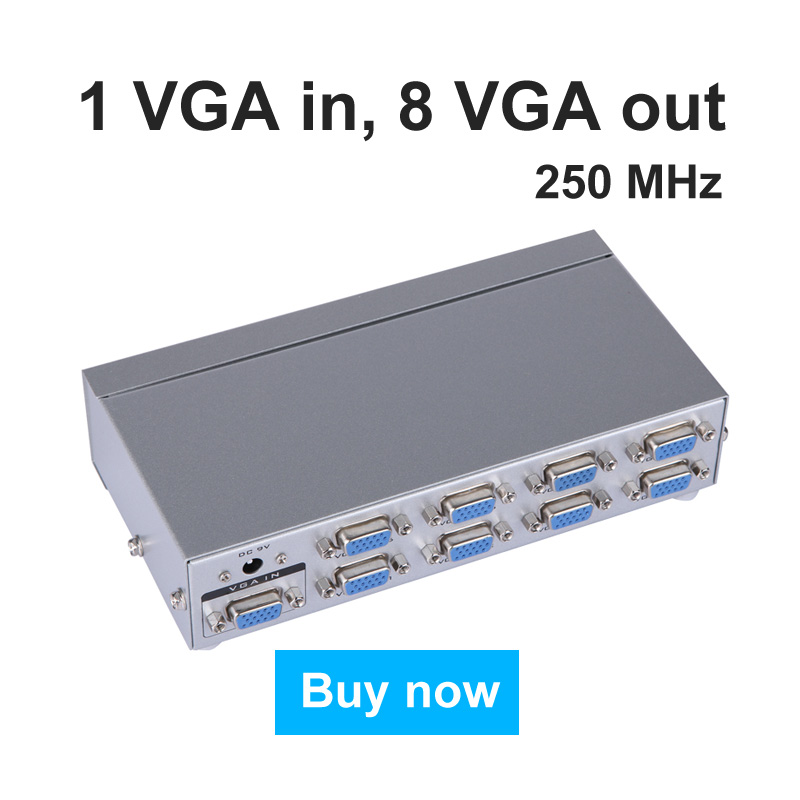 8 Port VGA Splitter Box 1 In 8 Out Distributor 8 Monitors Display Same Image Synchronously High Resolution MT-VIKI Maituo 2508