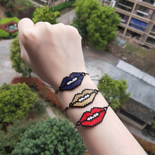 FAIRYWOO Gothic Lip Bracelets For Women Jewelry Miyuki Bead Handmade Dangle Bracelet Delica Punk Drawstring Rope Gift Wholesale(China)