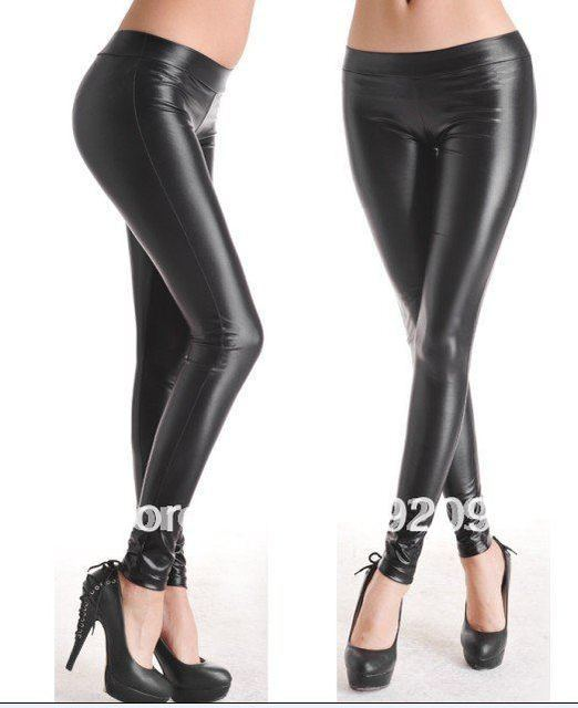 32dc313a9 001 shiny black Faux Leather Leggings Sexy low waist trousers Render pants  abdomen stretch size S