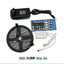5M 300led 5050 SMD RGBW RGBWW Led Light Waterproof DC12V Flexible Strip Lights+40 Keys Led Controller+ 12V 3A Power Adapter