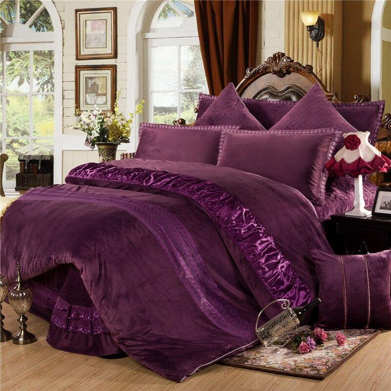 Winter Warm Thick Fleece Bedclothes Red Purple Grey Queen King size Bedding set 4 6Pcs Duvet