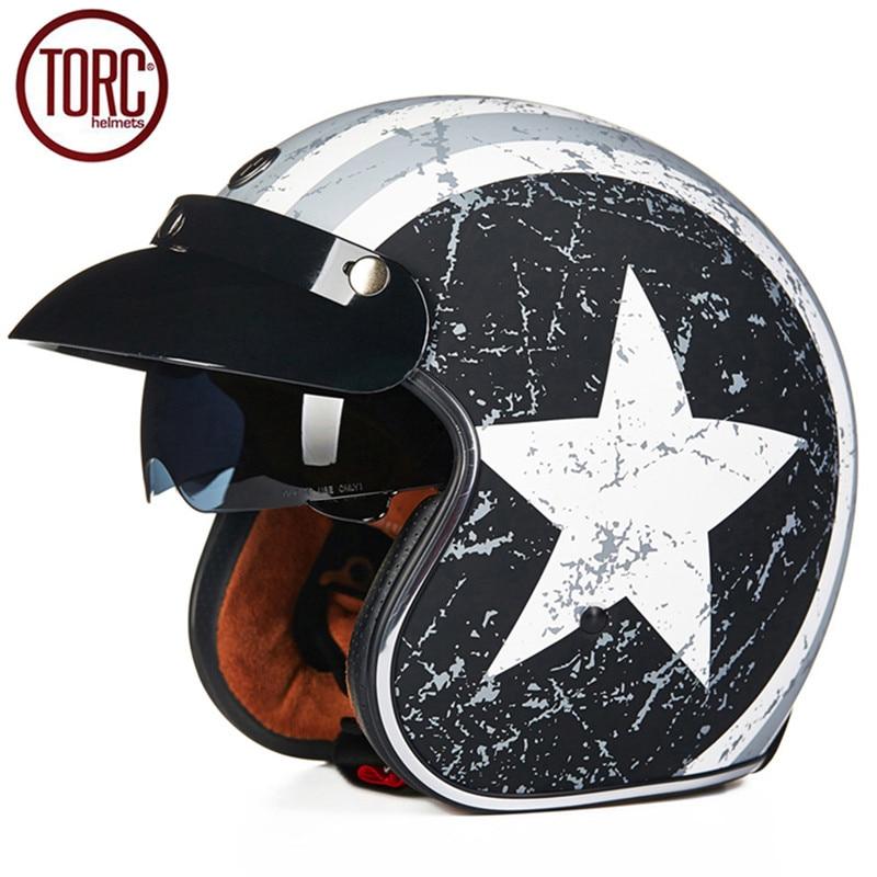 TORC Motorcycle Helmet Retro Harley Open Face Vintage Cruiser Helmet T5769 Moto Casque Casco motocicleta Capacete Helmets