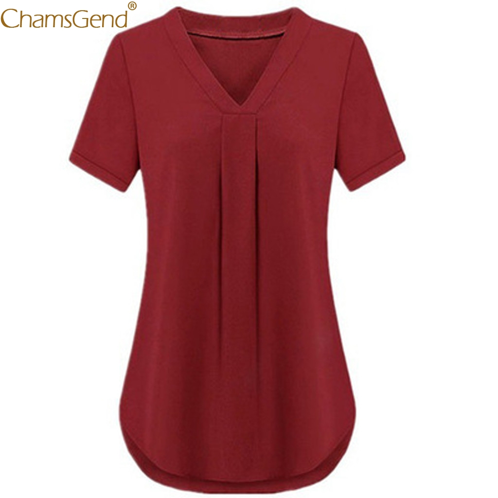 Solid chiffon blouse short sleeve chiffon blouse plus size ummer Causual V-neck  Short Sleeve Solid Color blouse femme t Mar18