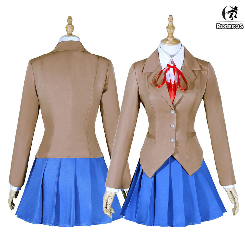 Sayori Yuri Natsuki Monika Outfit School Uniform Dress Cosplay Costume Full Set