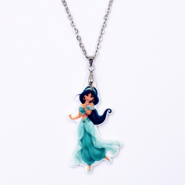 Black long hair cartoon princess acrylic pendant necklace acpn08 black long hair cartoon princess acrylic pendant necklace acpn08 45cm chain for girl woman jewelry accessories mozeypictures Image collections
