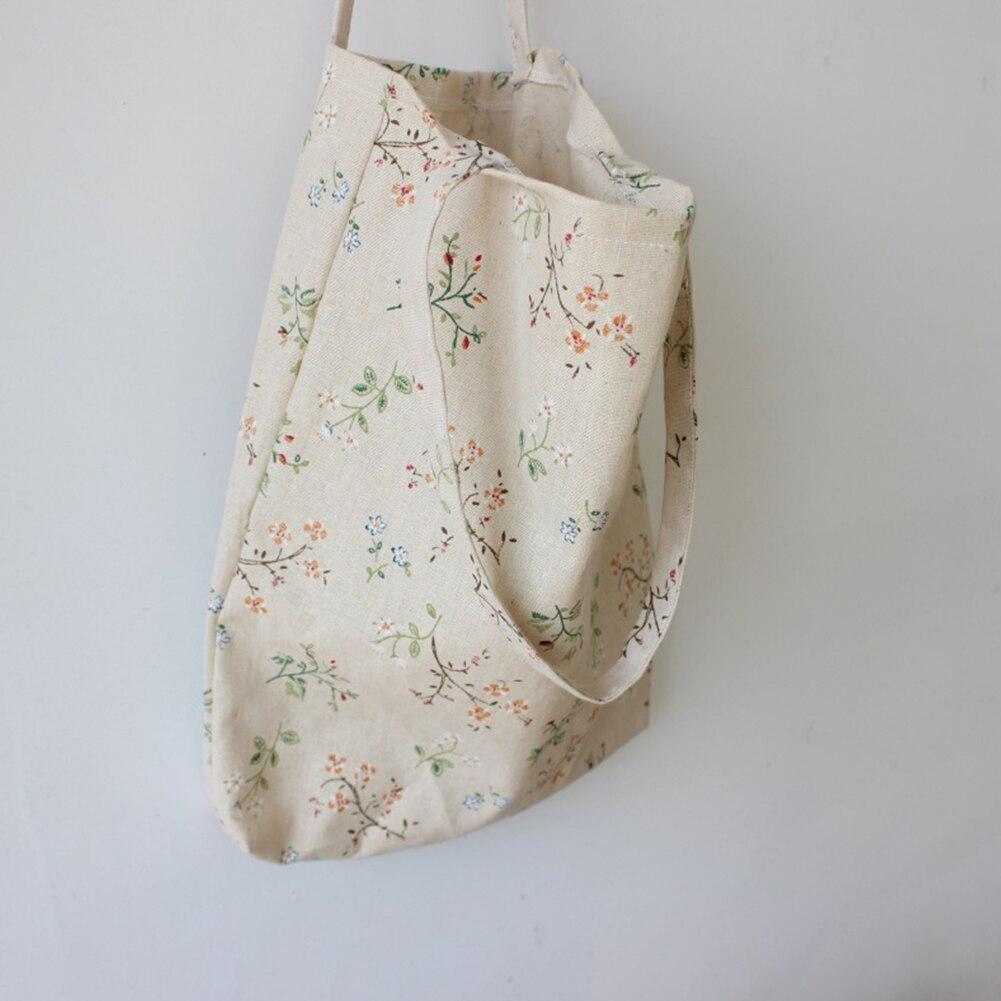Women Foldable Reusable Shopping Bag Eco Handbag Beach Bag Big Capacity Casual Canvas Shoulder Bag Flower Print Tote#H12^