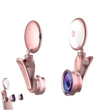цена на Selfie Ring Light With Hd Fisheye Wide Angle Macro Lens Flash Led Camera Phone Photography For Ip-hone Sa-msung Tablet Laptop