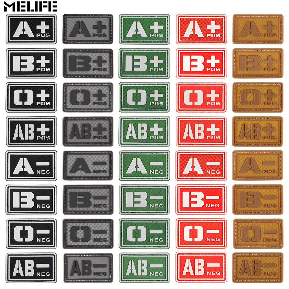 Yellow Cheerleading Souvenirs Noctilucent PVC A+ B+ AB+ O+ POS A- B- AB- O- NEG Blood Type Group Patch Stickers Sewing Decals