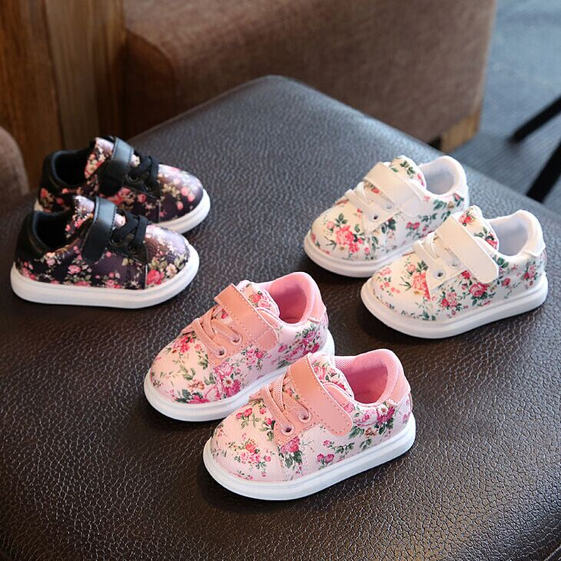 Cute Floral Pattern Design Baby Girls Shoes Comfortable Leather Kids Sneakers 5