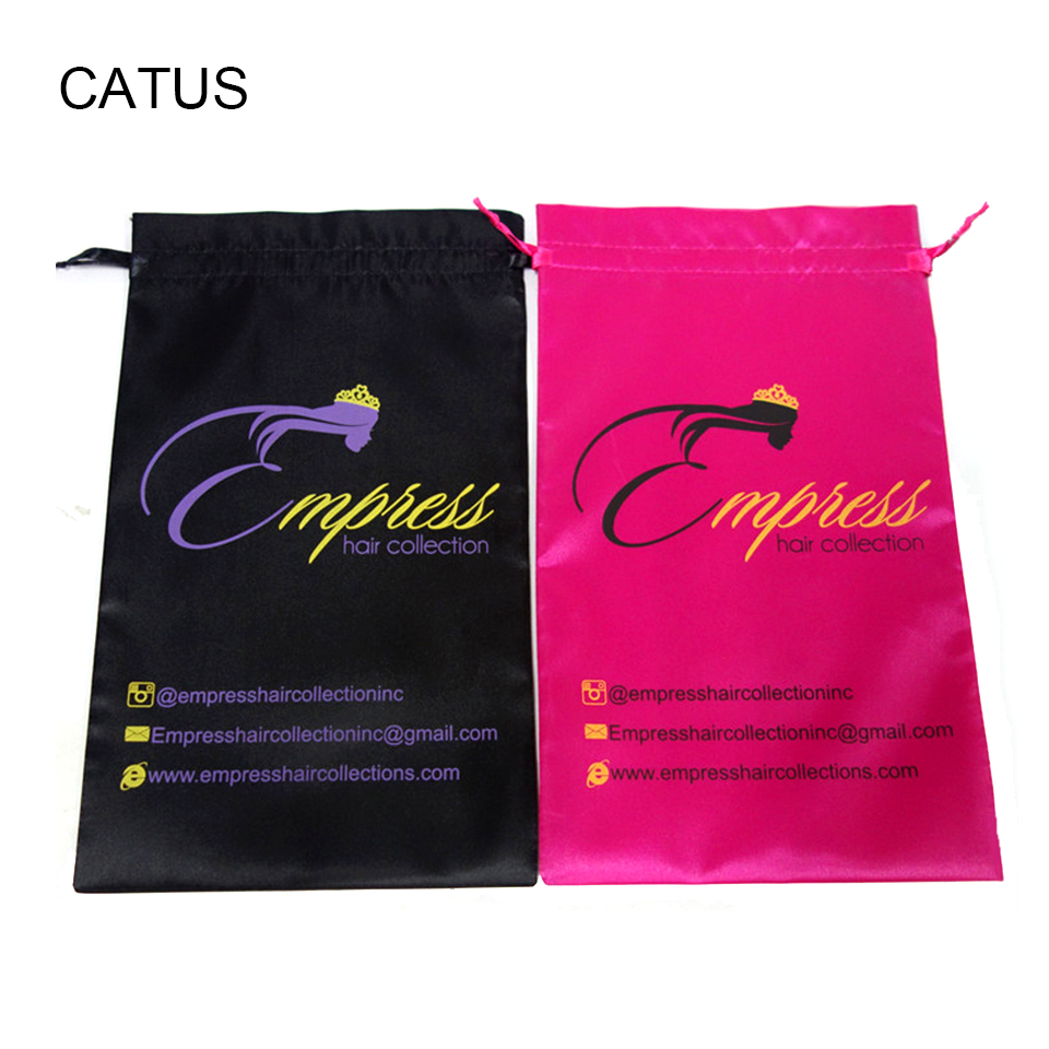 Detail Feedback Questions About Custom Accepted Virgin Hair Satin Bag Drawstring Packaging Bags Extension Garment Customized Logo Available On