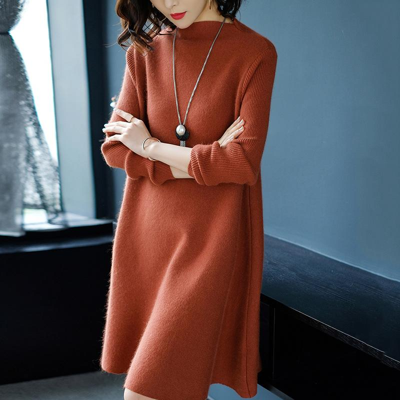Women Dress Winter Loose Style Cashmere Knitted Dresses 2018 New Fashion Autumn Warm Long Pullover Dress Woman Thick Knitwear-in Dresses from Women's Clothing