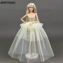 2b82cbd0744f3 Bej Barbie Prenses Düğün Elbise Asil Parti Için Bebek Giysileri Barbie Doll  Moda Tasarım Kıyafet Için En Iyi Hediye Doll
