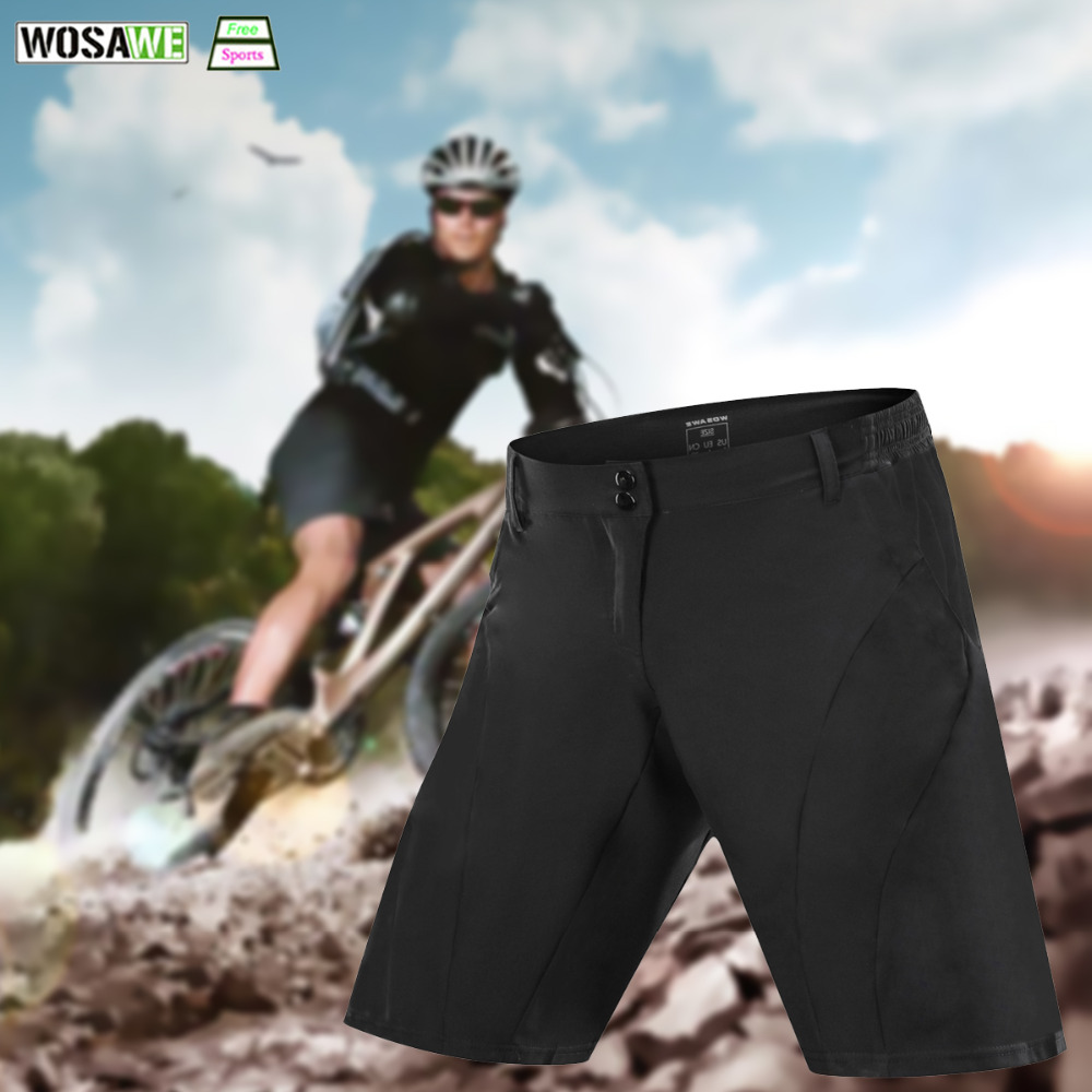 WOSAWE Men's Cycling Shorts Downhill Black Road MTB Mountain Bike Breathable Loose Fit Riding Shorts Sports Running Shorts