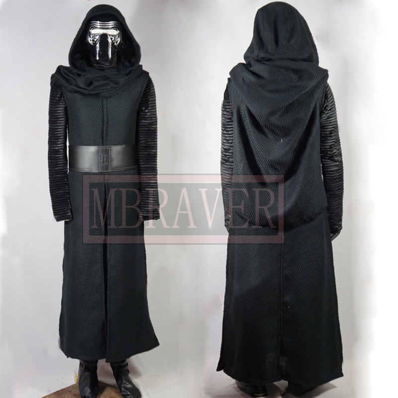 Star Wars 7:Kylo Ren Uniform Black Cloak Coat Shirt Pants Cosplay Costume For Men Custom Made Any Size Z1001