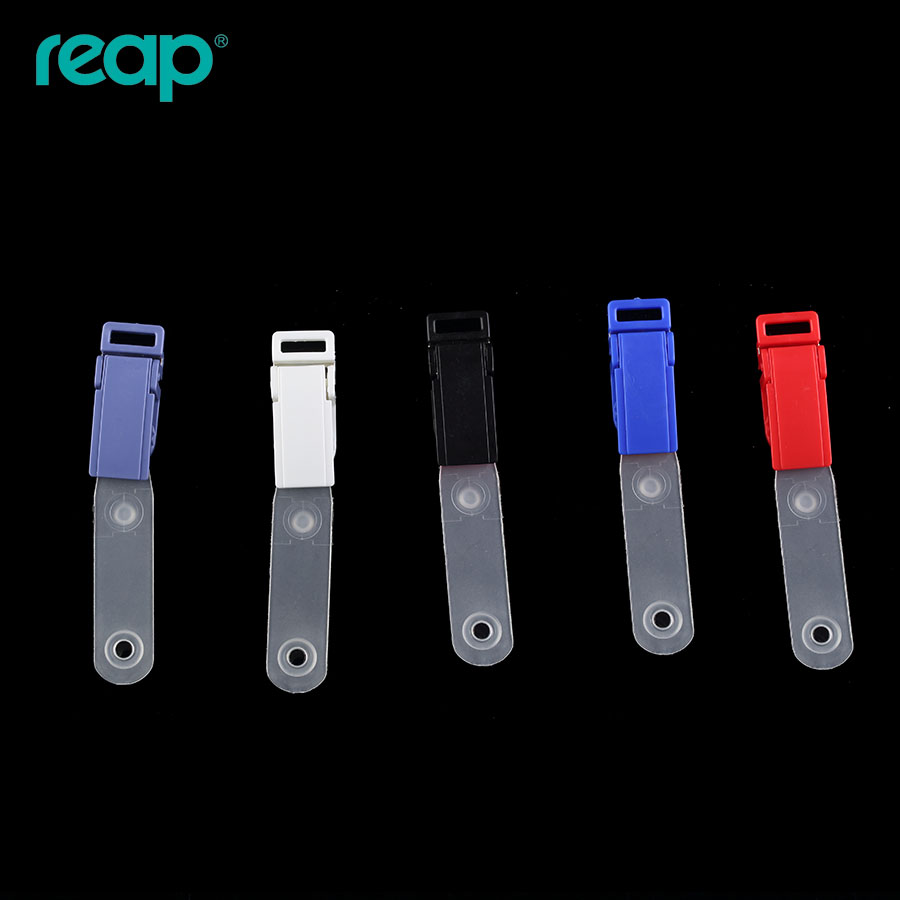 6Pcs/lot Reap 7604 Free Shipping ABS Metal ID Card Holder Name Badge Clip With Transparent Straps High Quality