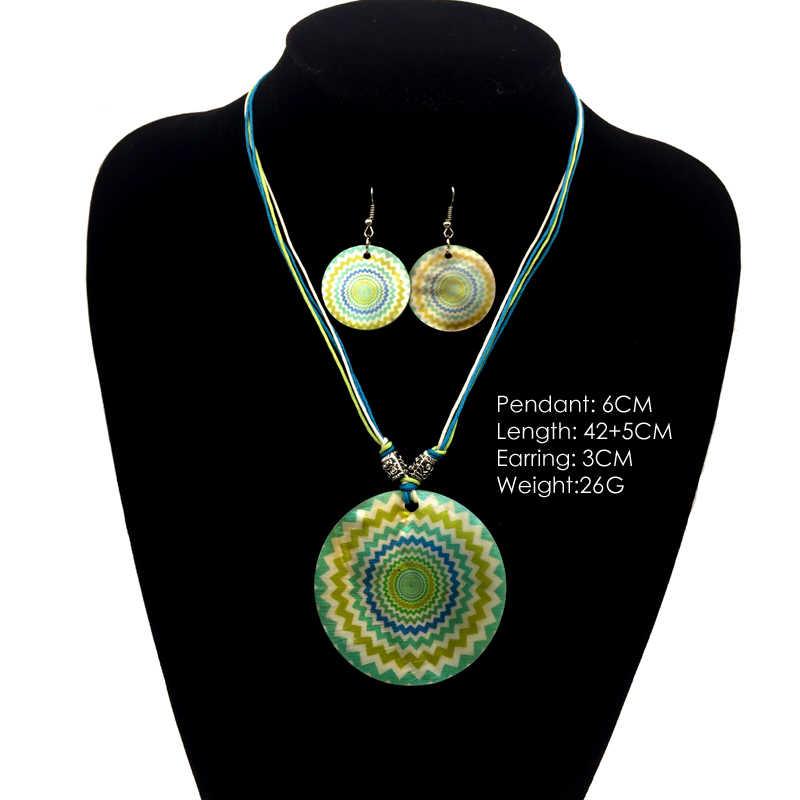 סטים לנשים עגול ירוק בוהמי עגיל תכשיטי פגז טבעי סט שרשרת bijoux femme boho אתני רובי שרשרת חבל שעווה חדש