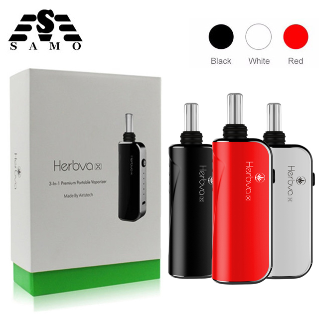цена на Original Herbva x 3 in 1 dry herb wax CBD oil Electronic Cigarette kits Ceramic Chamber Temp Control Screen vaporizer vape pen