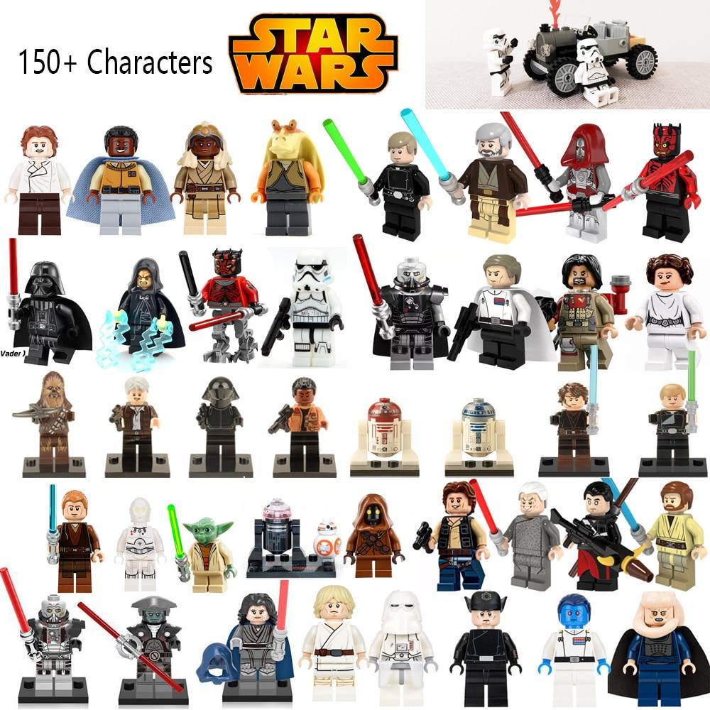 legoing Star Wars Figures Jedi Chewbacca Han solo Darth Vader leia Jango Fett Obi Wan Models & Building Toys Blocks for children
