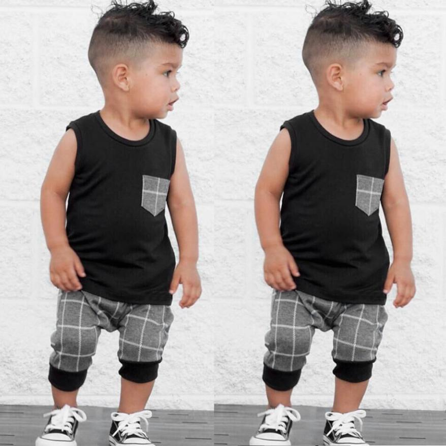 Popular Children's Clothes Set Infant Toddler Baby boys clothes Plaid Tops T Shirt Vest Shorts Outfits roupa infantil 3M-5T(China)