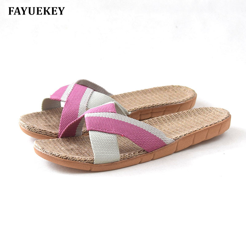 FAYUEKEY 2018 Summer Fashion Home Linen Candy Colors Breathable Slippers Women Indoor Floor Beach Slides Girls Gift Flat Shoes fayuekey new fashion summer home striped linen slippers women indoor floor non slip beach slides flat shoes girls gift