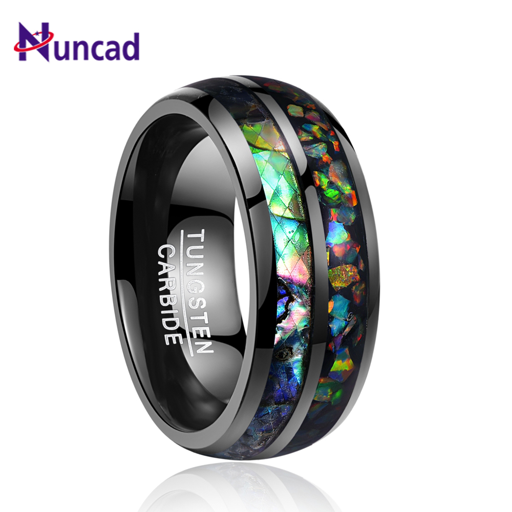 Nuncad men rings electroplated black inlaid shells Opal dome tungsten steel ring size 7/8/9/10/11/12 T090R gj303 rhinestones 316l stainless steel couple s ring black silver size 9 7 2 pcs