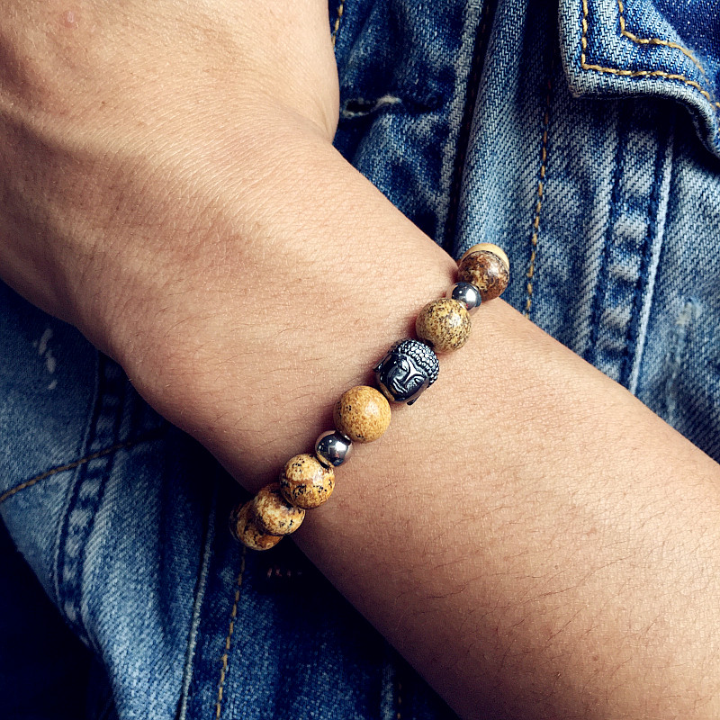 Mcllroy Buddha Bracelets bracelet men Beads Bracelets For Women Men Nature Silver Jewelry Pulseira Masculina Bangle