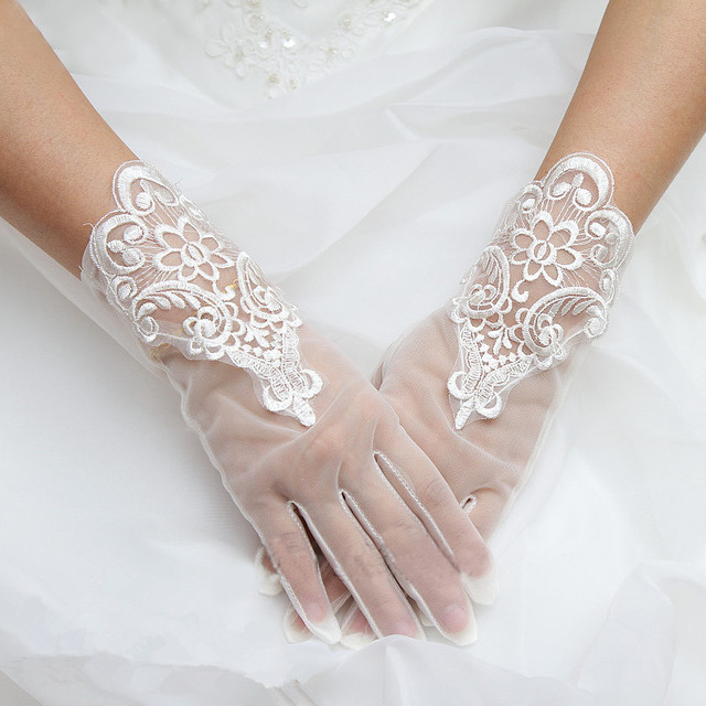 Hohe Qualität Nizza Kurz Weiß Hochzeit Braut Spitze Handschuhe ...