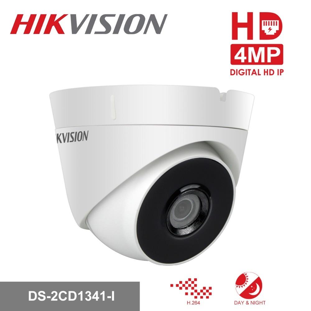 Hikvision HD CCTV Camera Outdoor DS-2CD1341-I 4MP Turret Secuiry PoE IP Camera Infrared Night Vision Video Surveillance hik english version 1080p camera ds 2cd1341 i 4mp turret poe ip camera infrared night vision home security dome cctv ip camera