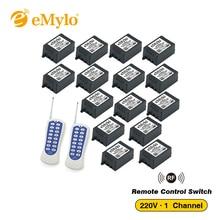 EMylo AC 220 V 1000 W לבן וכחול ממסרי ערוץ משדר 15X1 מתגים חכמים אלחוטי RF מרחוק מתג בקרת אור 433 Mhz