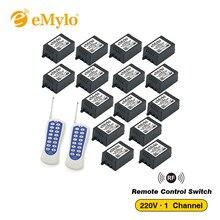 EMylo AC 220 V 1000 W Wit & Blauw Zender 15X1 Kanaals Relais Smart Switches Draadloze Rf afstandsbediening Control Lichtschakelaar 433 Mhz