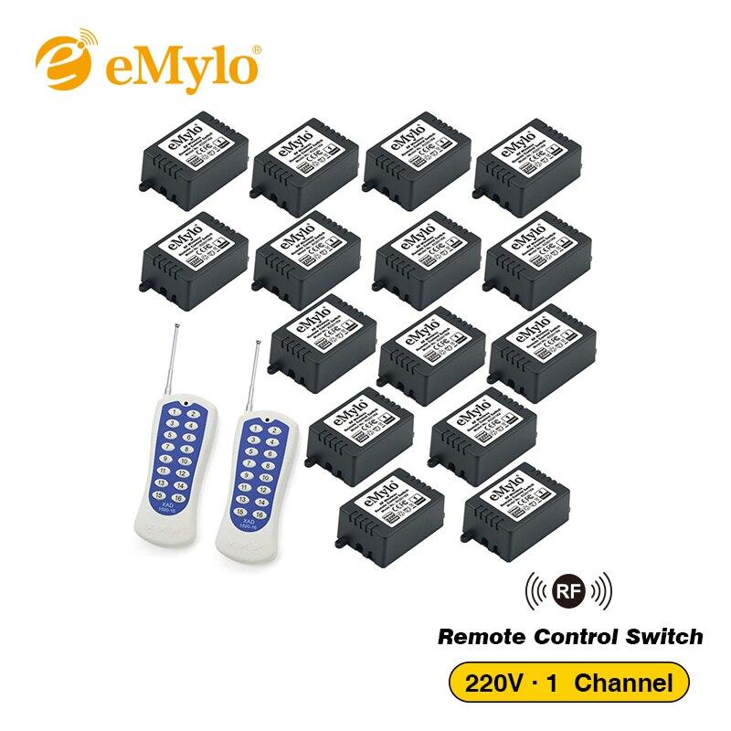 EMylo AC 220 V 1000 W blanc et bleu transmetteur 15X1 canaux relais interrupteurs intelligents sans fil RF télécommande interrupteur 433 Mhz