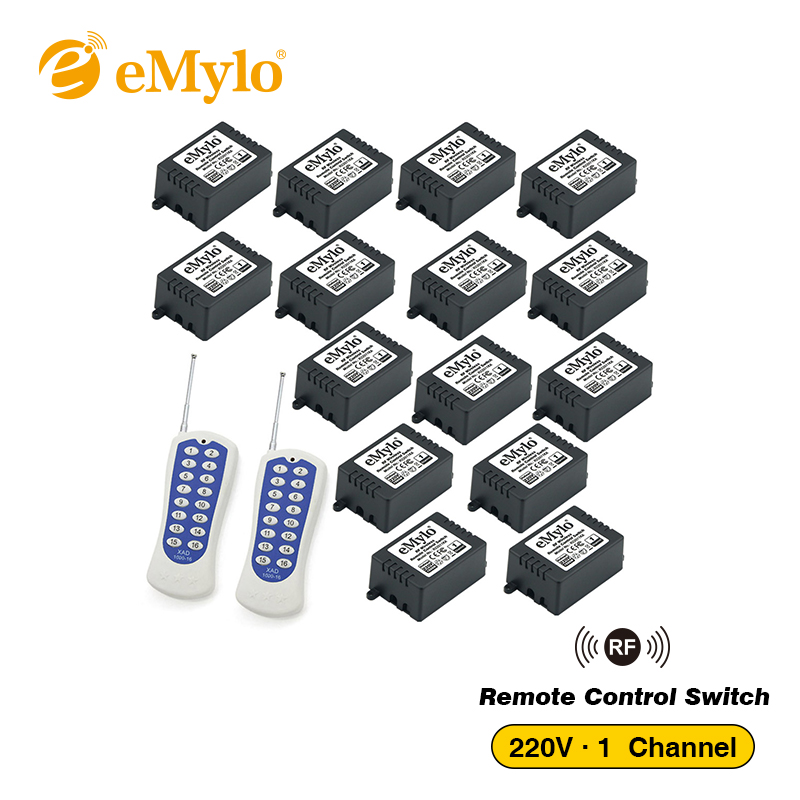 eMylo AC 220V 1000W White&Blue Transmitter 15X 1 Channel Relays Smart Switches Wireless RF Remote Control Light Switch 433Mhz emylo 4x 220v 1000w 1channel 433mhz wireless rf realy remote control switch receiver with transmitter