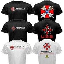 Neue Ankunft Männer Die Resident Evil Umbrella Corp pharmaunternehmen Neuheit Print Kurzarm Camisetas Plus Größe