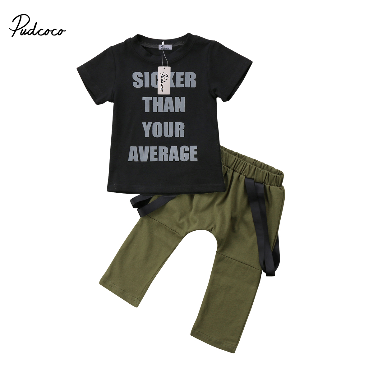 cool kids baby boys clothes set letter print black short