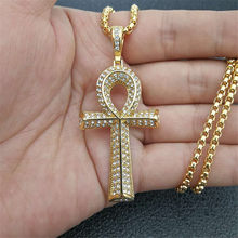 Hip Hop Iced Out Bling Full Rhinestones Egyptian Ankh Cross Charms Pendant Necklaces Gold Color Stainless Steel Egypt Jewelry(China)