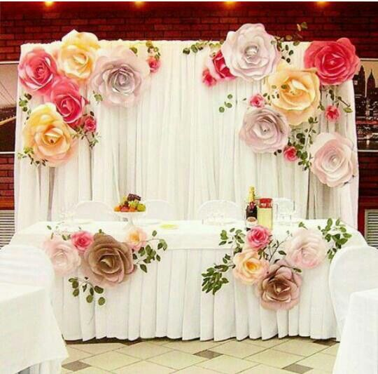 more color size DIY paper flower Backdrop for wedding