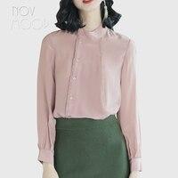 Ladies pink natural silk tops and blouses elegant lace spliced off center closure silk shirt roupa camisa blusa feminina LT2082
