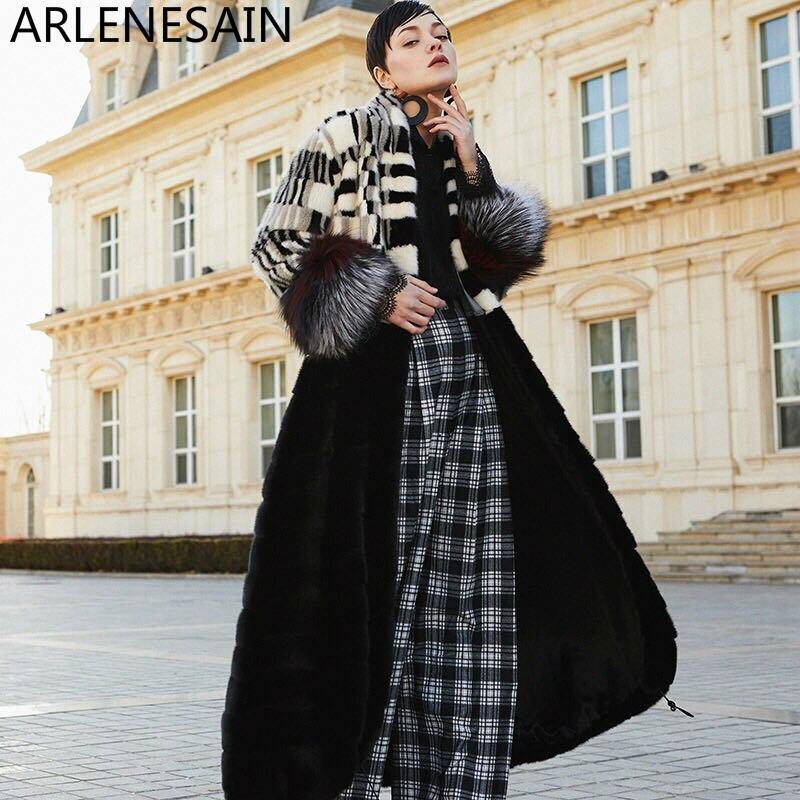 Femmes Fourrure Personnalisé À Manteau Section Robe Long Style Vison Noir De Arlenesain STq4HwZH