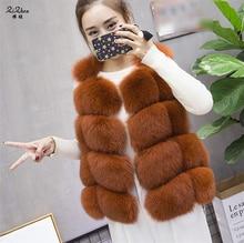 Autumn Winter Genuine Fox Fur Vest Women's Full Pelt Gilet Warm Luxury Real Natural Fox Fur Waistcoat Pockets A Line 170926-4