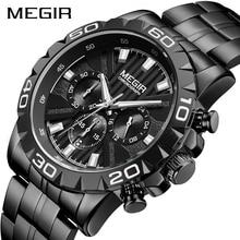 MEGIR メンズウォッチトップブランドの高級黒ステンレススチールビジネスクォーツ時計時計レロジオ Masculino Erkek Kol Saati