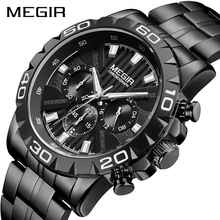 MEGIR Mens Watches Top Brand Luxury Black Stainless Steel Business Quartz Watch Men Clock Relogio Masculino Erkek Kol Saati
