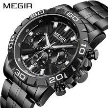 MEGIR montres hommes Top marque de luxe en acier inoxydable noir affaires montre à Quartz hommes horloge Relogio Masculino Erkek Kol Saati