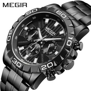 Image 1 - MEGIR мужские s часы лучший бренд класса люкс черные из нержавеющей стали бизнес Кварцевые часы мужские часы Relogio Masculino Erkek Kol Saati
