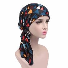 Новая весенняя женская печать Рак химиотерапия шляпа бини шарф Тюрбан красочные головной убор шапка Skullies& Beanie