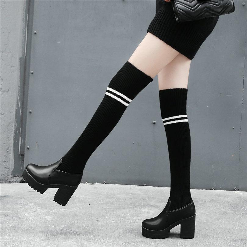 1eb47651c64 Femmes Noir Genou Tricot Sur Longue Souliers D équitation Stretch En À Des  Le Chaussures Bas Cuir Nayiduyun Bottes Haute ...