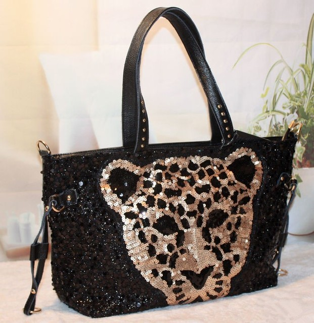 Autumn and winter genuine leather motorcycle paillette bag leopard head patten bag women's handbag rivet bag shoulder bag