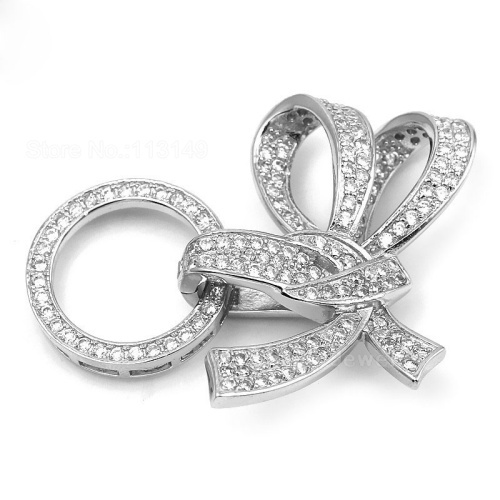 New 4 Strands 925 Sterling Silver Micro Pave Zircon Bowknot Clasp Fine Jewelry Accessory Necklace Pendant Connector SC-CZ027