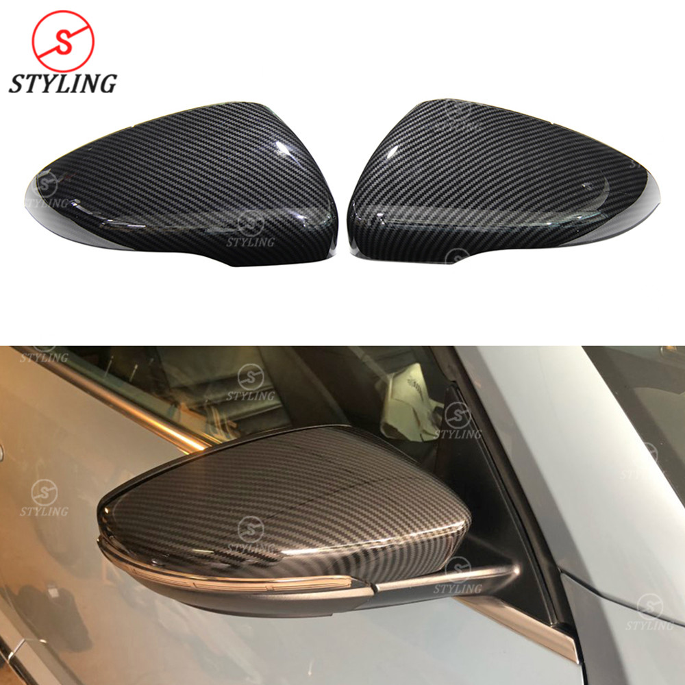 Carbon look Mirror Cover For Volkswagen Golf 6 GTI R20 MK6 MK7 Scirocco CC Passat Beatles Rear View cap Mirror Cover Replacement