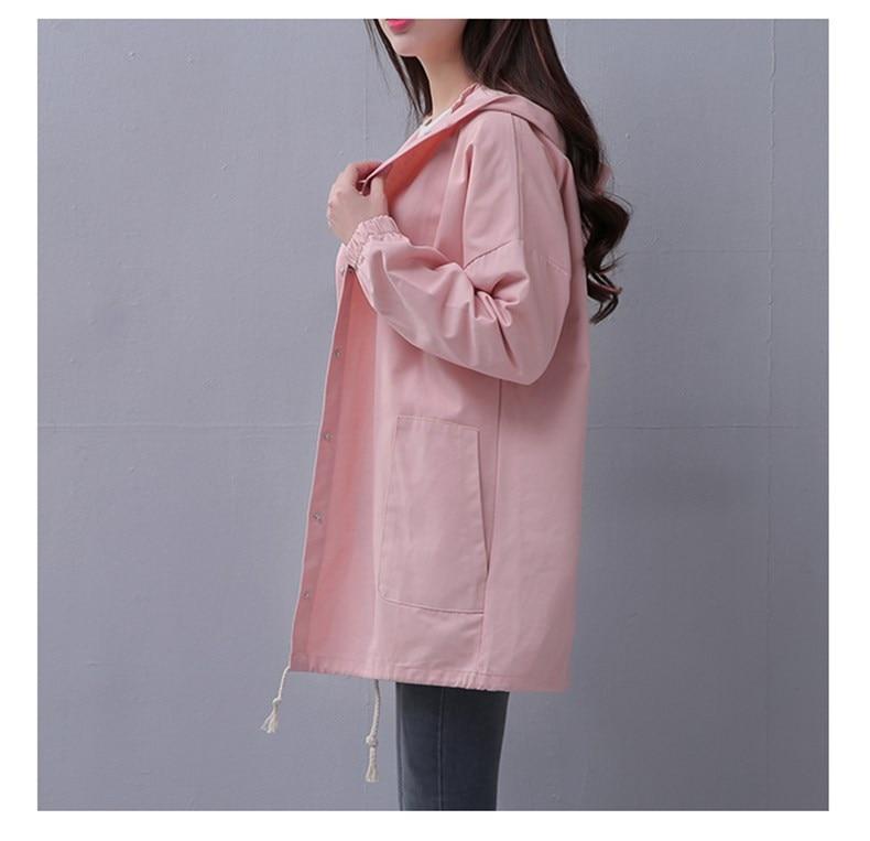 Spring Autumn Women Casual Lace up Long sleeve Hooded Windbreaker Female Pocket Loose Hooded   jacket     Basic   Solid   Jackets   Outwear