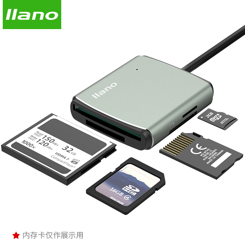 llano 4 in 1 USB 3.0 Smart Card Reader Flash Multi Memory Card Reader for TF / SD / MS / CF 4 Card Read and Write Simultaneously